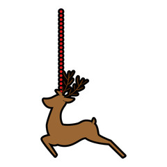 reindeer animal hanging decorative vector illustration design