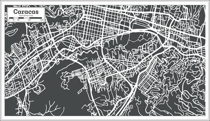 Caracas Venezuela City Map in Retro Style.