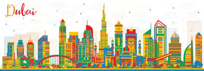 Abstract Dubai UAE City Skyline with Color Buildings.