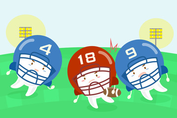 cartoon tooth american football players