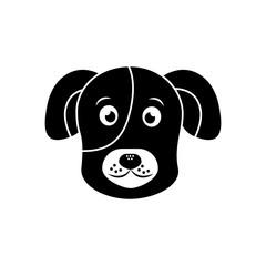 cartoon dog head pet animal icon vector illustration