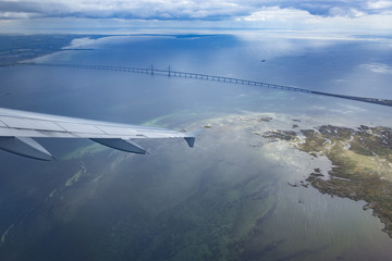 Oresund bridge seen from the plane