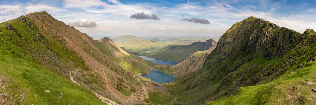 View from the Llanberis Path, Snowdonia, Gwynedd, Wales, UK - looking northeast at Garnedd Ugain, Glaslyn, Llyn Llydaw and Mount Snowdon