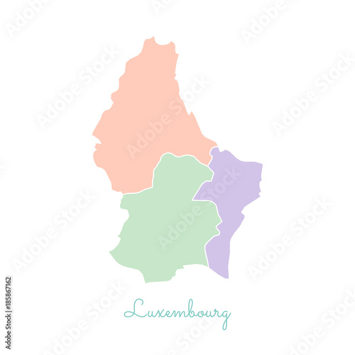 Luxembourg region map: colorful with white outline. Detailed map of ...