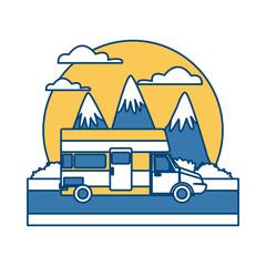 Caravan car vehicle between mountains landscape icon vector illustration