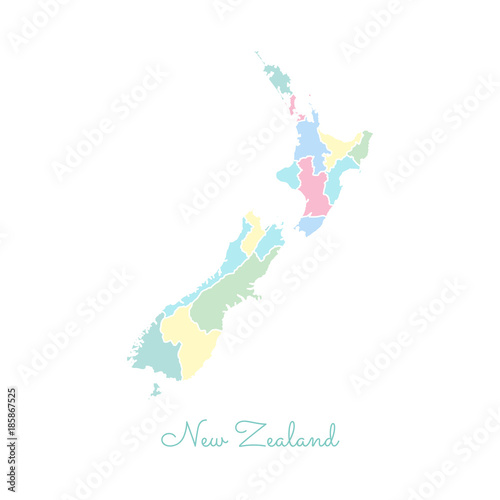 New Zealand Regions Map.New Zealand Region Map Colorful With White Outline Detailed Map Of