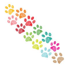 Colorful paw print background