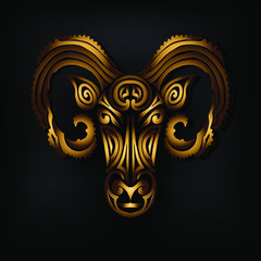 Golden Ram head logo isolated on black background. Stylized Maori face tattoo. Golden Sheep mask. Symbol of Chinese Horoscope by years. The Golden Fleece. Vector illustration.