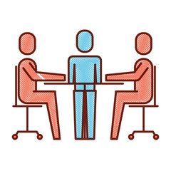 teamwork meeting office people together vector illustration
