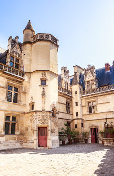 View of the Musee de Cluny, a landmark national museum of medieval arts and Middle Ages history located in the fifth arrondissement of Paris, France.