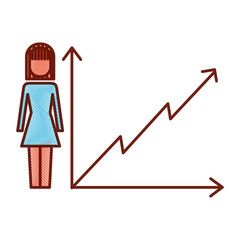 businesswoman with diagram arrow growth finance vector illustration