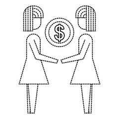 business people holding money coin dollar team vector illustration