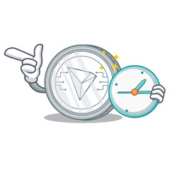 With clock Tron coin character cartoon