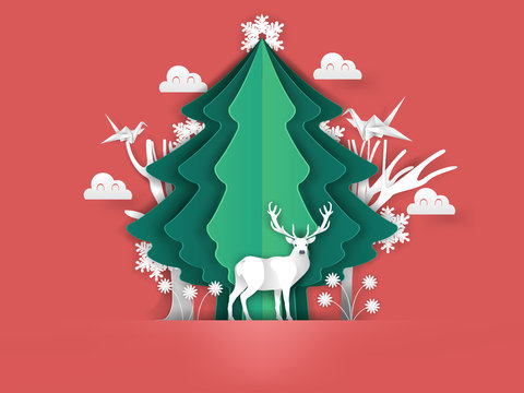 illustration vector of merry christmas in paper craft art, beautiful paper art design concept of christmas winter season