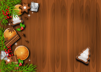 Beautiful christmas background decorated with traditional objects