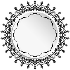 Round vector frame with floral elements and arabesques. Round black and white pattern with arabesques. Fine greeting card