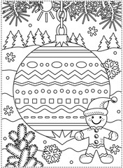 Winter holidays coloring page for kids and grown-ups with decorated ornament,  ginger man, fir tree branches, snowbanks and snowflakes