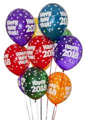 Happy New Year 2018 - Bonne année - ballon de baudruche - Fond blanc