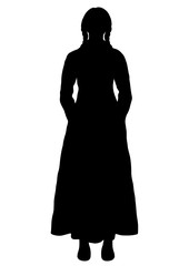 Girl in Italian national costume silhouette, vector outline portrait, black and white contour drawing. Woman full-length with braids, in an ancient traditional long dress, isolated on white background