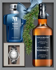 Men perfume and watch Gift set Vector realistic. Top view 3d design.