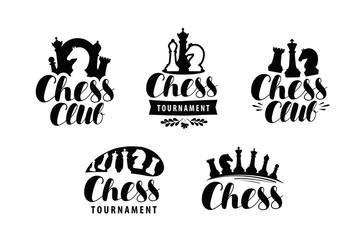 Chess club, logo or label. Game, tournament icon. Typographic design, lettering vector