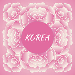 South Korea travel banner vector. Pink floral design with traditional peony flower pattern frame for souvenir postcards, korean tourism poster or label sticker prints.
