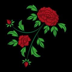 Vintage floral embroidery pattern vector. Red peony mexican flower ornament stitch print isolated on black background. Craft textile patch design for fashion clothing, pillow, tablecloth or napkins.