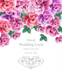 Wedding card vector template. Greeting card or invitation floral backgrounds