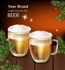 Beer mugs Vector realistic design. Winter decor card background illustration