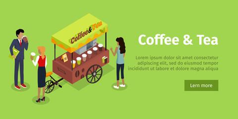 Coffee Tea Concept Isometric Vector Web Banner