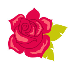Red Rose with Green Leaf. Blossom in Cartoon Style