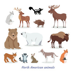 North American Animals Cartoon Flat Icons Set