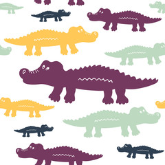 Cartoon cute crocodiles seamless vector pattern. Can be used for textile, website background, book cover, packaging.