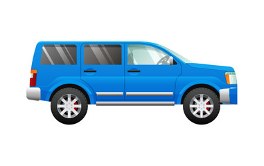 Blue Sport Utility Car in Simple Cartoon Style