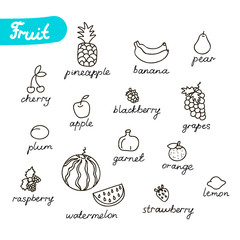 Set of fruits. Stock vector template, easy to use.
