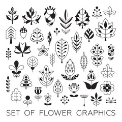 Set of Geometrical leaves, trees and flowers. Beautiful vector design.
