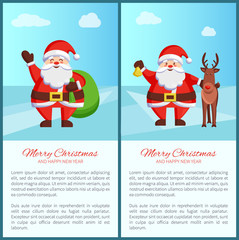 Merry Christmas Santa and Bag Vector Illustration