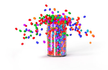 Candies explode out of the jar, white background, 3D rendering.