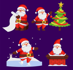 Santa Clauses Set icons Vector Snow Chimney Tree