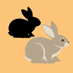 rabbit vector illustration flat style black silhouette profile