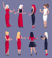 Set of Women at Party Vector Illustration Purple