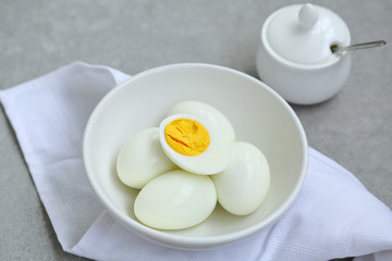 Fresh Boiled eggs in bowl