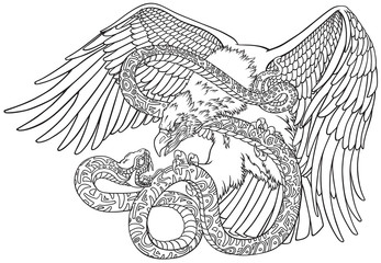 the battle of the eagle and the serpent snake. Outline tattoo style vector illustration