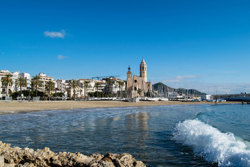 The beautiful town of Sitges, winter Spain, Landscape of the coastline in Sitges