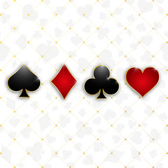Set of symbols deck of cards for playing poker and casino. Vector illustration.