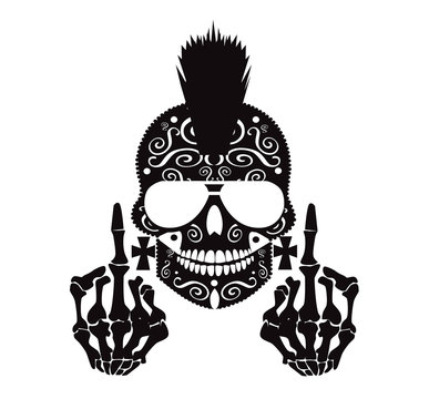 Punk skull with Mohawk, sunglasses and middle finger black and white