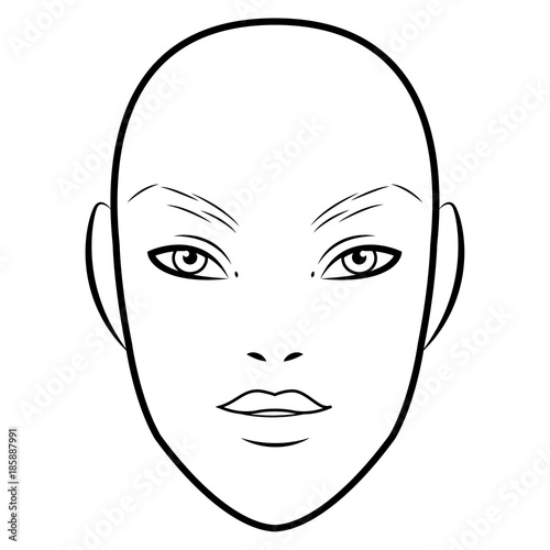 Men Face chart Makeup Artist Blank. Template. Vector illustration ...