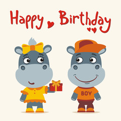Happy birthday! Greeting card: funny hippo girl gives gift to boy hippo for birthday.