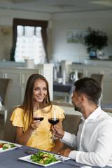 Lovely Couple Having Dinner In Luxury Restaurant.