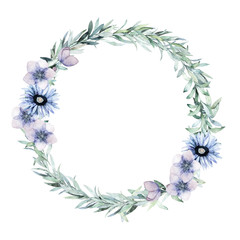 Watercolor leaves wreath. Hand drawn isolated illustration